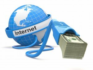 Make money online. Concept. Earth and internet cable with money. Copyright danfroelke.com